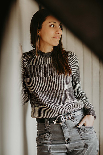 Newspaper Pullover by Joji Locatelli is a raglan sweater with alternating blocks of vertical and horizontal brioche stripes that flow like the news on a newspaper.