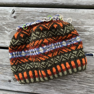 I am working the decreases of the crown on my Da Crofter's Kep by Wilma Malcolmson