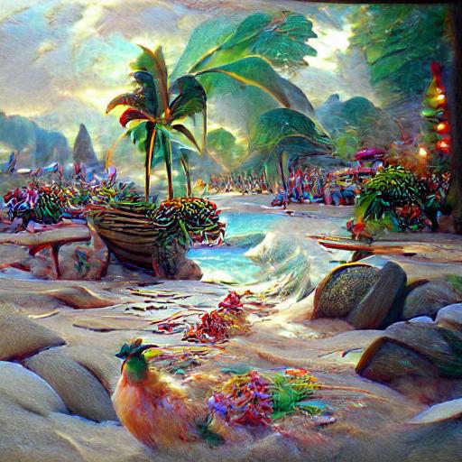 'a tropical beach by Thomas Kinkade' CLIPIT