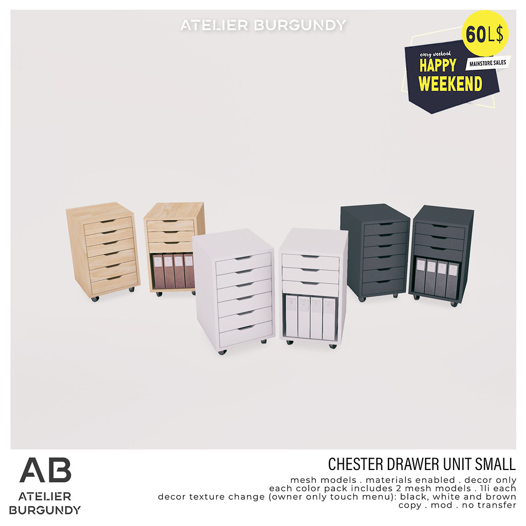 Atelier Burgundy . Chester Drawer Unit Small