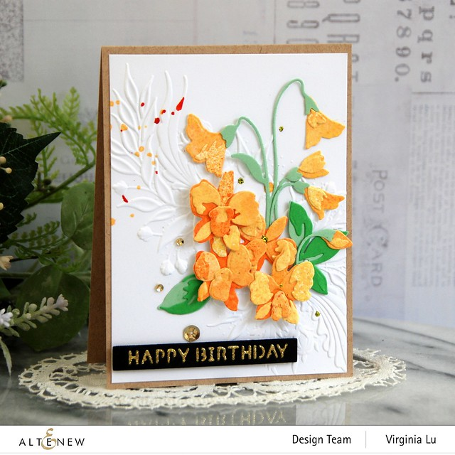 Altenew-CAF Dendrobium Orchid-Cheerful Bloom 3D Embossing Folder-Essential Sentiment Strips Die-Glided Glitter Card stock