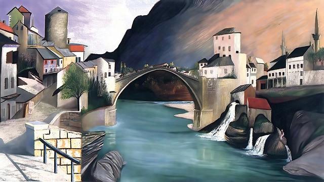Roman Bridge in Mostar by Tivadar Csontvary Kosztka