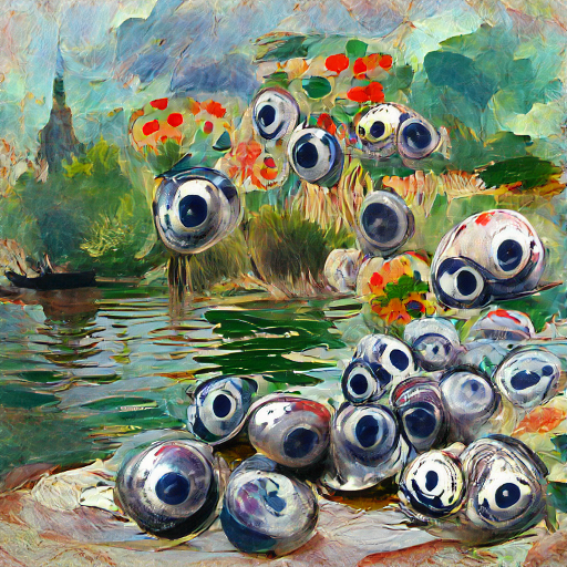'eyeballs in the style of Claude Monet' CLIPIT