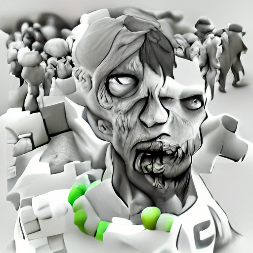 'an ambient occlusion render of a zombie' CLIPIT