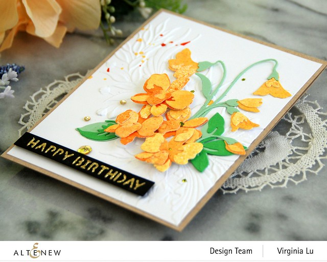 Altenew-CAF Dendrobium Orchid-Cheerful Bloom 3D Embossing Folder-Essential Sentiment Strips Die-Glided Glitter Card stock (2)