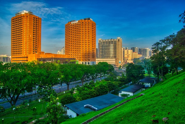 Morning view of Singapore from Fort Canning Park