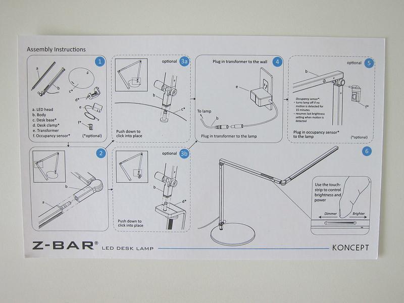 Koncept Z-Bar LED Desk Lamp - Instructions