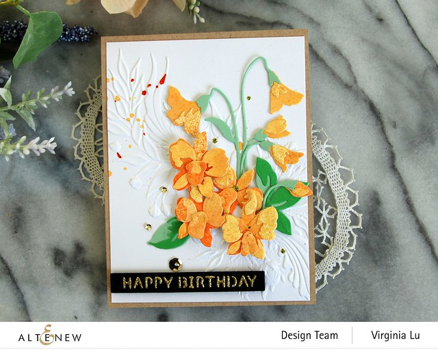 Altenew-CAF Dendrobium Orchid-Cheerful Bloom 3D Embossing Folder-Essential Sentiment Strips Die-Glided Glitter Card stock-001 (2)