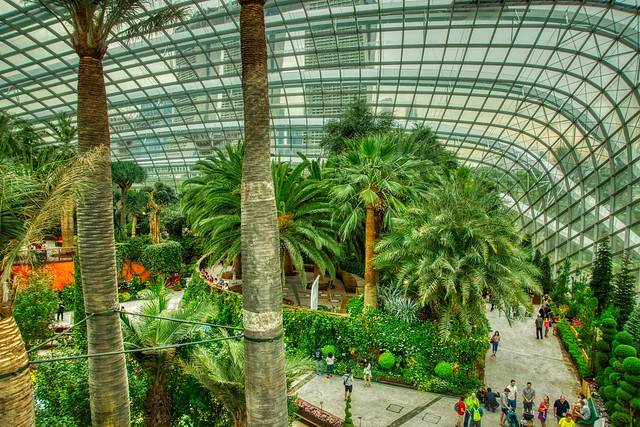 Flower Dome conservatory in the Gardens by the Bay in Singapore