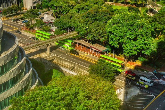 The Green Double Decker Buses on New Bridge Road seen from Furama City Centre Hotel in Singapore