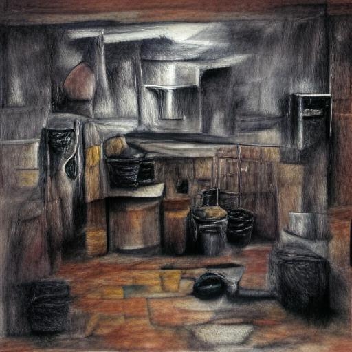 'a charcoal drawing of a kitchen' Art Machine