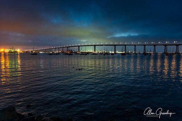 Sunrise behind the Coronado Bridge