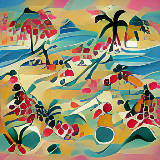 'a silk screen of a tropical beach in the style of Kandinsky' Art Machine