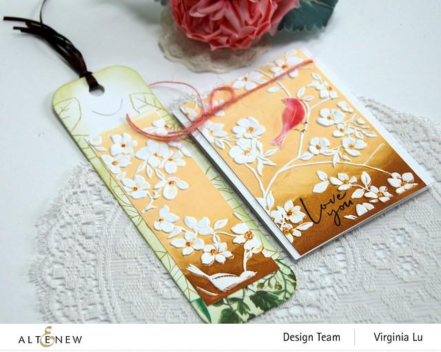 Altenew-BlossomingBranches 3D Embossing Folder-Rose Tea Stamp Set-TallTale Bookmark Die