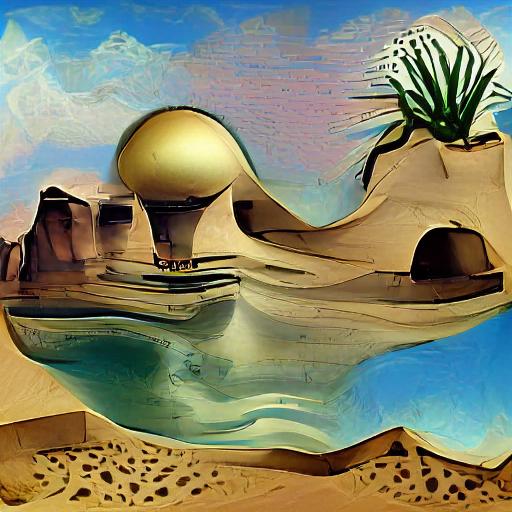 'a desert oasis in the style of Salvador Dali' VQGAN+CLIP v5
