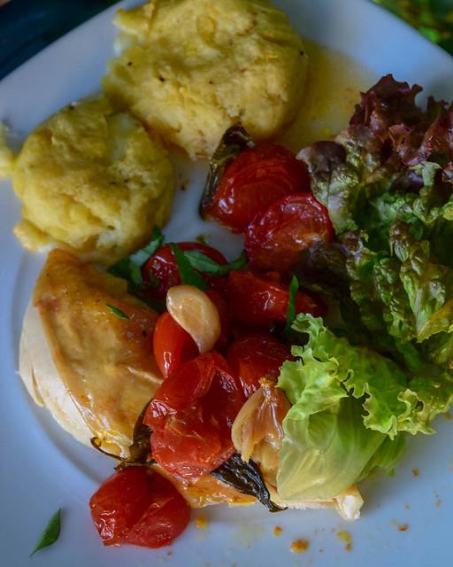 Poulet rôti aux tomates et gnocchi géant 2