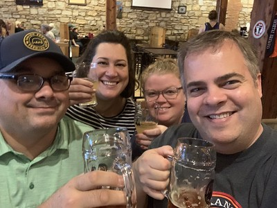 Greg, Erin, Carrie, and I Enjoying Drinks on Saturday