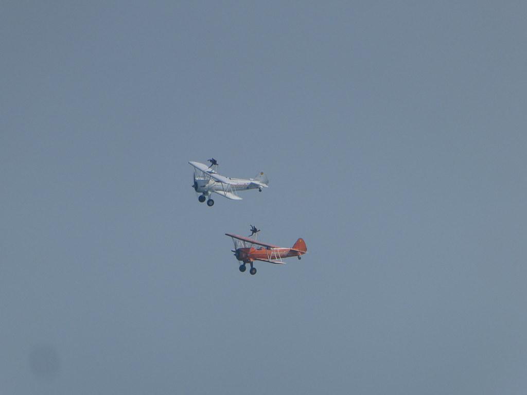 AeroSuperBatics WingWalkers performing at the Bournemouth Air Show
