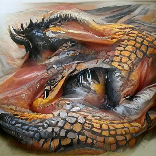 'a hyperrealistic painting of a dragon' VQGAN+CLIP v5