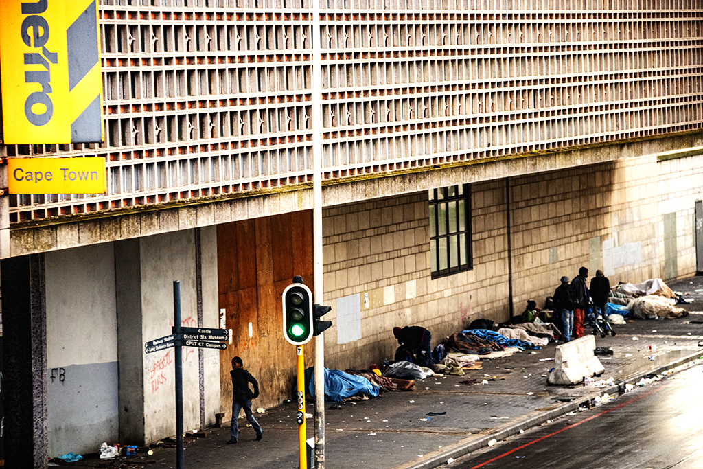 Homeless on messy sidewalk in Foreshore on 9-5-21--Cape Town 2