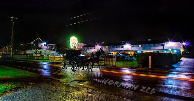 Amish land buggy at night...