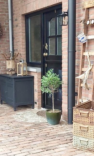 zwart houten kastje terras zwarte landelijke voordeur olijfboom in pot