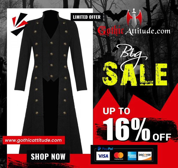 Men Black Cotton Twill Steampunk Jacket Goth Victorian Military Style Trench Coat
