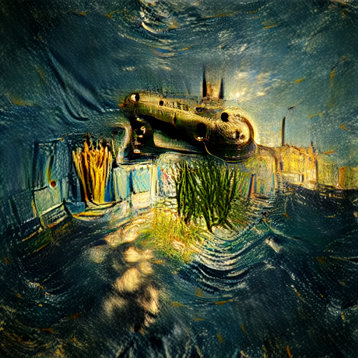 'a photo of a submarine in the style of Vincent van Gogh' Zoetrope 5.5 Text-to-Image
