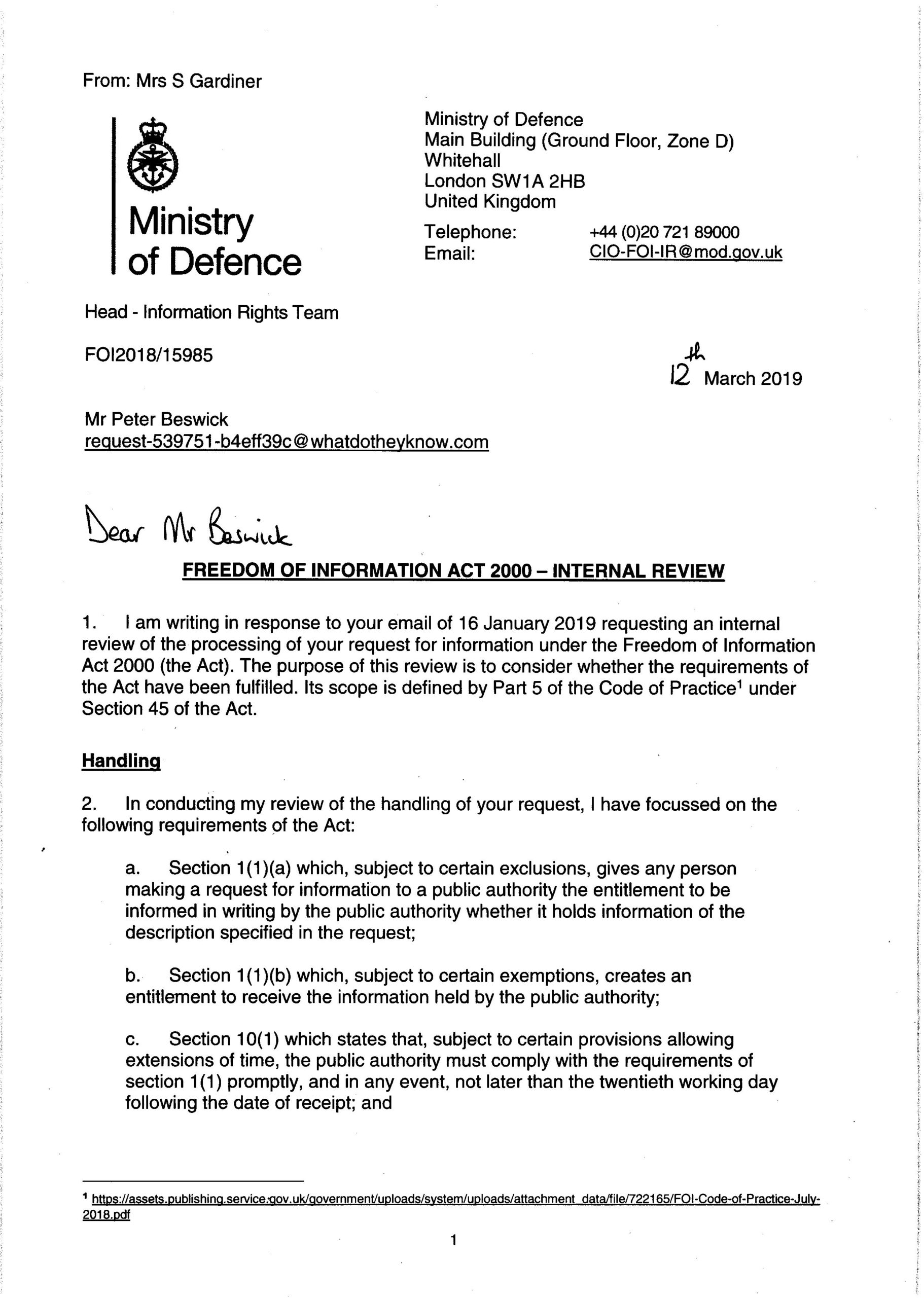 Réponse du ministère britannique de la Défense concernant les échantillons des Skripal