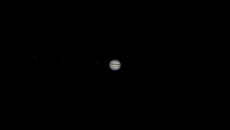 Jupiter and 3 moons - Ganymede, Europa and Io (from left to right) (04.09.2021)