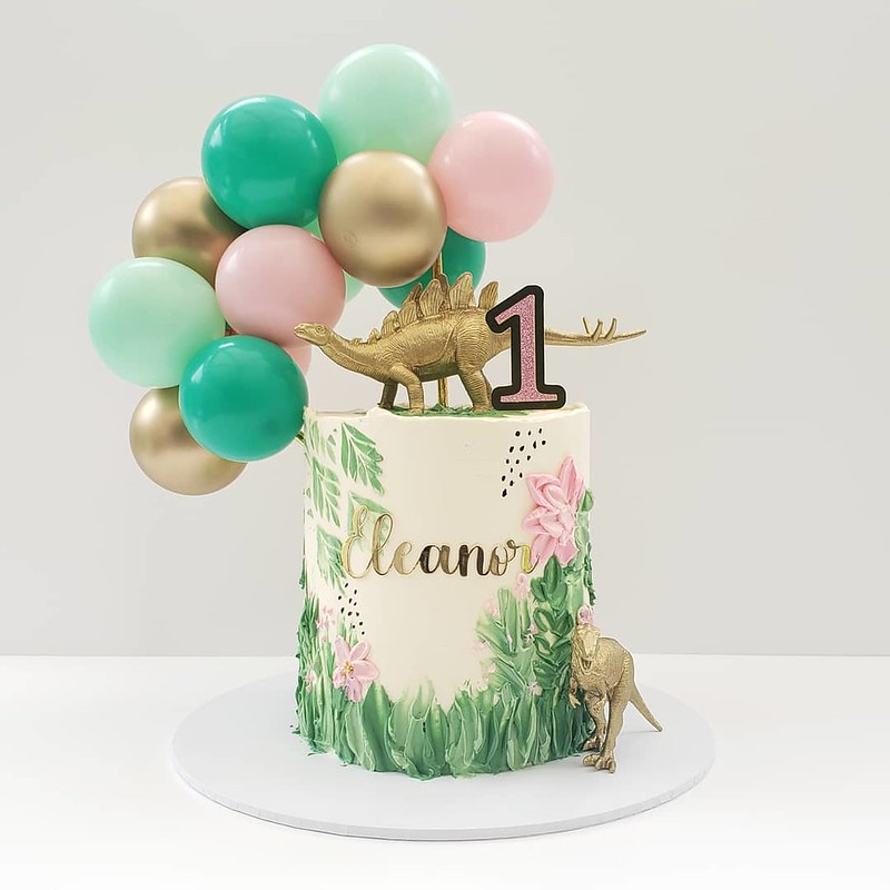 Girly Dinosaur Cake by DH Sweets
