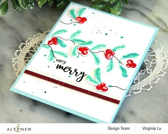 Altenew-MD Very Berry-Dry Brush Poinsettia-Glitter Gradient Cardstock Set - Pink Brilliance-003