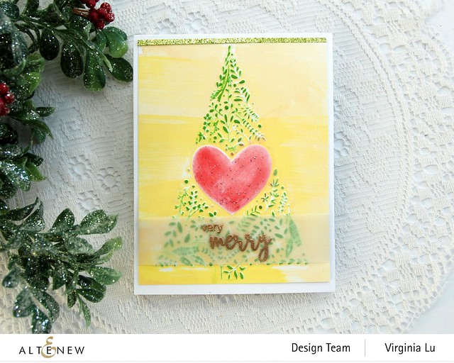 Altenew-Winter Foliage 3D Embossing Folder-Dry Brush Poinsettia Stamp Set
