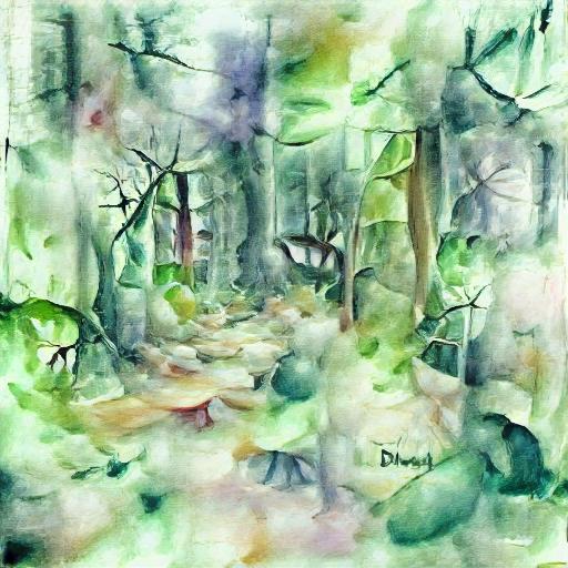 'a watercolor painting of dense woodland' Zeta Quantize