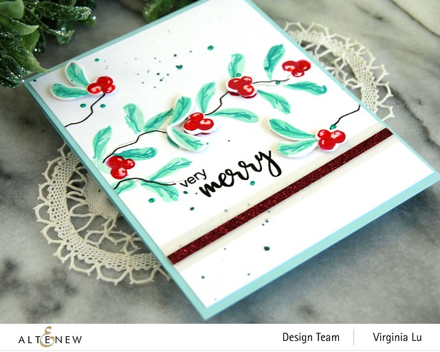 Altenew-MD Very Berry-Dry Brush Poinsettia-Glitter Gradient Cardstock Set - Pink Brilliance-004