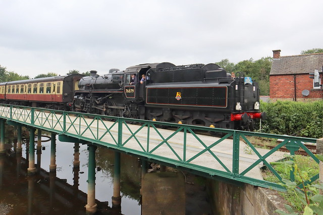 76079 Crossing the bridge with Whitby train, at Ruswarp