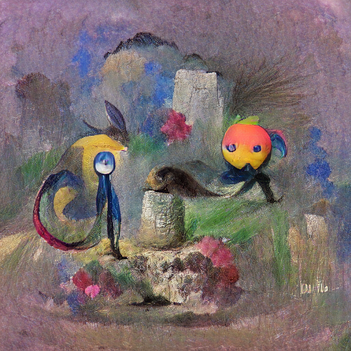 'a sketch of a Pokemon character in the style of Odilon Redon' Zeta Quantize