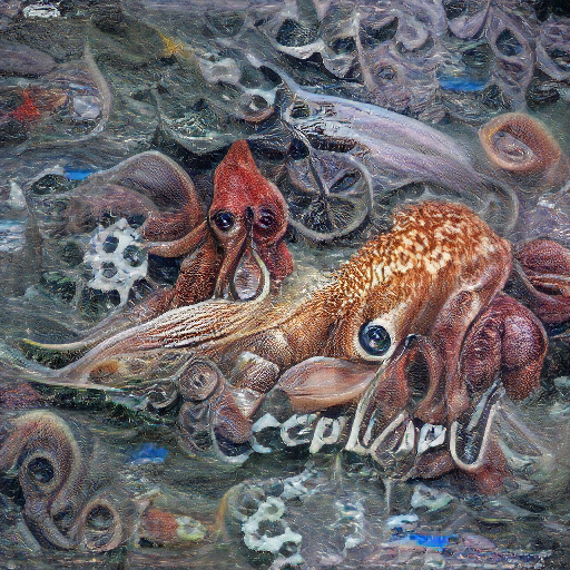 'a detailed painting of a cephalopod' Zeta Quantize