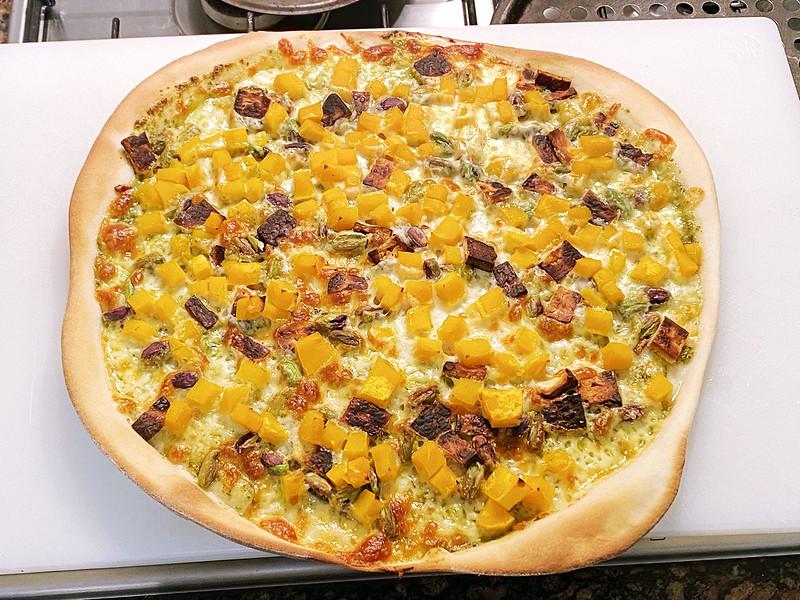 Pesto, pumpkin, pistachio pizza