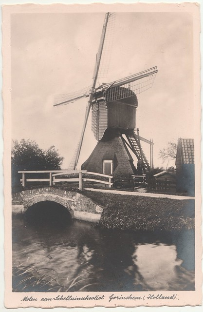 Ansichtkaart - Molen aan Schelluinschevliet Gorinchem (Holland) (Uitg. Hoek Haag, nr. 1254)