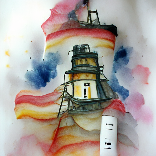 'a watercolor painting of a lighthouse' Experimental VQGAN