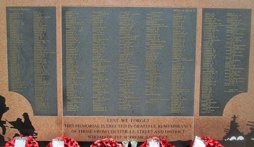 Names, Chester-le-Street War Memorial