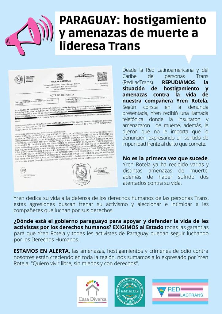 PARAGUAY_Repudio a amenazas a Yren Rotela