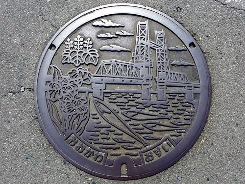 Okawa Fukuoka, manhole cover (福岡県大川市のマンホール)