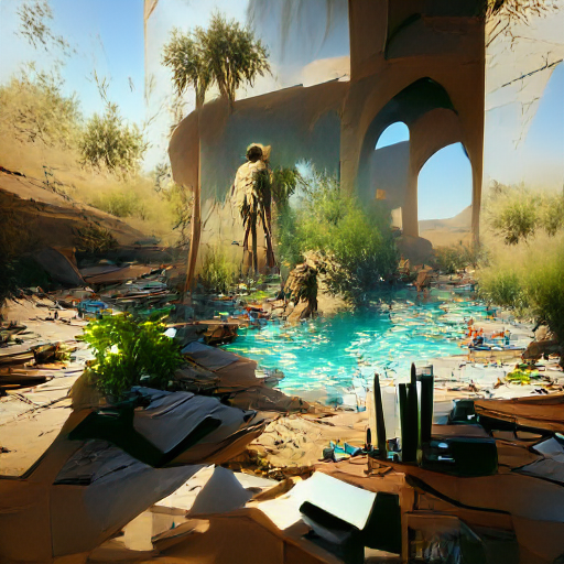 'a desert oasis in the style of Craig Mullins' Experimental VQGAN