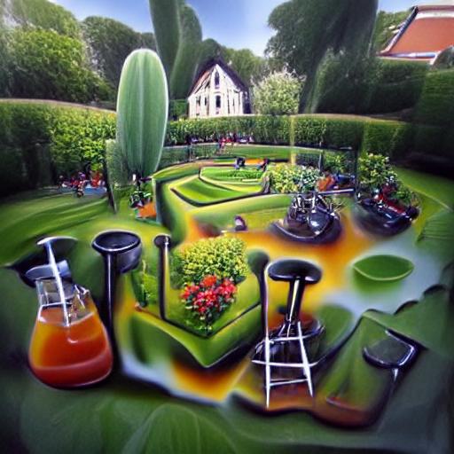 'an airbrush painting of a well kept garden by Piet Mondiran' Experimental VQGAN