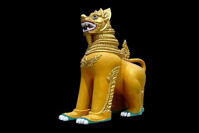 India - Uttar Pradesh - Kushinagar - Lion At Burmese Temple - 21d