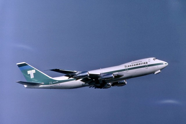 Brand-new Transamerica Boeing 747-271C N742TV seen departing Frankfurt airport