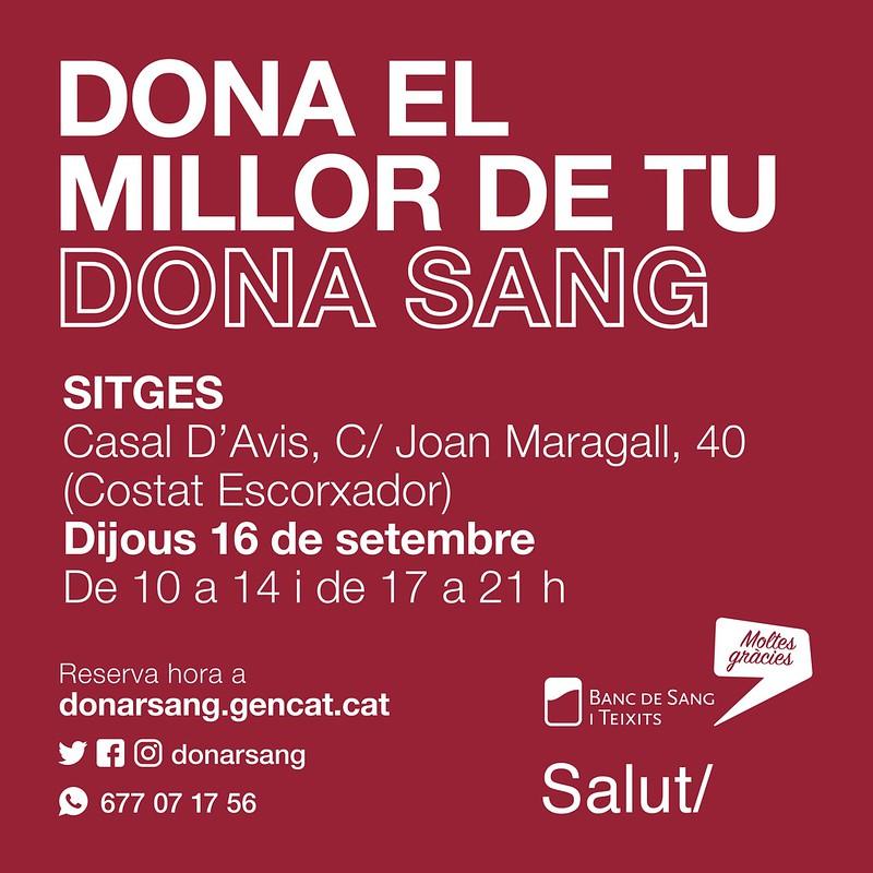 Nueva campaña de donación de sangre en Sitges el 16 de septiembre