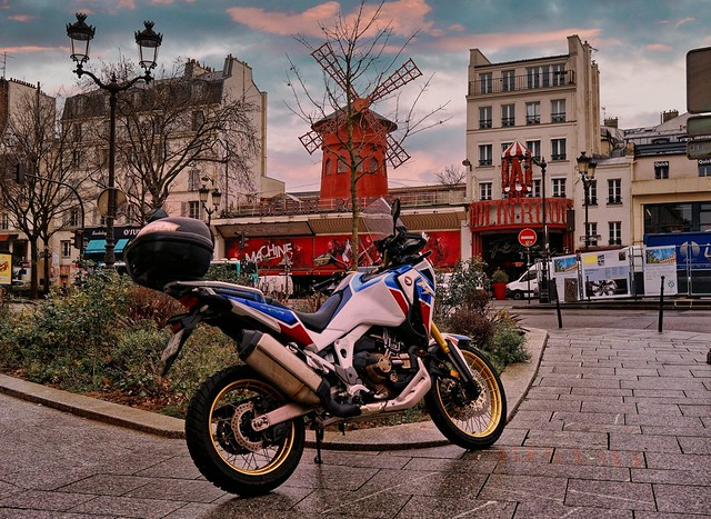A motorcyclist at the Moulin Rouge